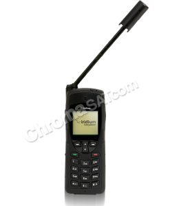 iridium satellite phone with antenna extended and angled right