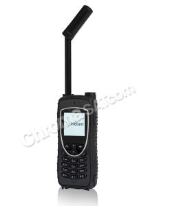 iridium extreme satellite phone with antenna extended and angled right