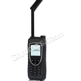 Iridium 9575 Extreme Satellite Phone – front with antenna extended and angled to the right