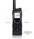 Iridium 9575 Extreme Satellite Phone – on charging base with ID callouts