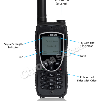 Iridium 9575 Extreme Satellite Phone – with feature ID callouts
